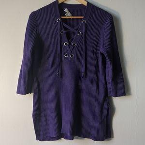 Michael Kors Purple Lace Up Sweater Large L